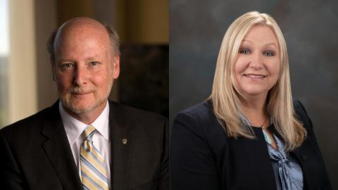 Photos of UCI Chancellor Howard Gillman and California Department of Corrections and Rehabilitation Secretary Kathleen Allison