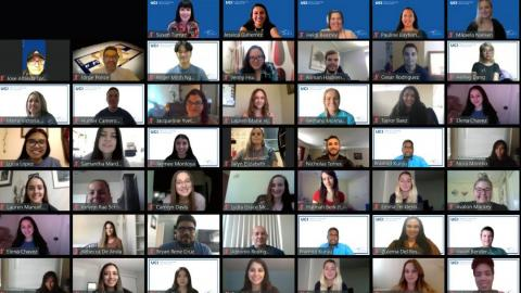 Screenshot of the 2020 MAS student cohort during a Welcome Week Zoom chat.